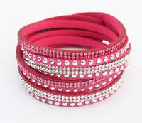 Mode strass Slake Suede Cuir Wrap Bracelet À La Main Velours Cristal Alliage Rivet Charme Bracelets 12pcs / lot 9 Couleurs livraison gratuite