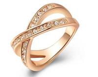 Роскошная Австрия Кристалл Розовое Золотое Кольцо Новое Прибытие Покрытое золото скрещивание Форма с полным блестящим алмазом Бесплатная доставка Размеры