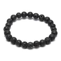 Vendita calda Lava Rock chakra bracciale Diffusore Nero Pietra naturale energia Perline fatte a mano Braccialetto Per le donne Gioielli moda Artigianato