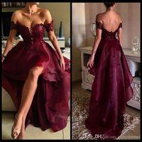 Bordo Gelinlik Modelleri Omuz Aplike Dantel Şarap Kırmızı Yüksek Düşük Mezuniyet Backless Parti Akşam elbise Vestidos de formatur
