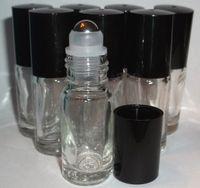 Новый оптовый многоразового использования 5 мл 1/6 унции мини-рулон на аромат духи стеклянные бутылки эфирное масло сталь металлический ролик мяч