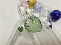 Großhandel bunte 14cm Erdbeer Pyrex Glas Öl Brenner bunte Glas Bubbler Pfeifen für Wasserpfeife