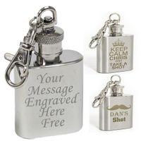 Llavero gratuito personalizado de flask de Hip de acero inoxidable personalizado 1oz