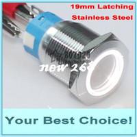 50 stks / partij 19mm roestvrij staal 24V LED verlichte zelfvergrendeling P67 Waterdichte anti-vandaal metalen drukknopschakelaar (DHL)