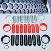 Mesh Grillabdeckungen Borte + Scheinwerferblende + Nebelscheinwerferabdeckungen Shell Umgibt Kits Für Jeep Wrangler jk 07-15 kostenloser versand