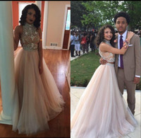 New Two 2 Pieces Long Beaded Prom Dresses 2016 A- Line Hollow...