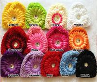 20 stks Gemengde kleur Daisy Flower Rhinestone Baby Kids Kinderen Haak Gebreide Caps Beanie Hoed 19 Kleur voor Kiezen
