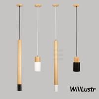 Willlustr цилиндр подвесной светильник дерево плюс металлическая подвеска освещение столовой зал ресторана отеля виллы кафе-бар счетчик пятно света
