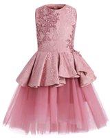 Cute cor-de-rosa concurso vestidos jóia pescoço sem mangas laço curto estiário ruffles meninas meninas tule saia festa de aniversário real imagem real