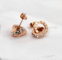 Orecchini per borchie di cristallo di zucca in acciaio inossidabile 316L in acciaio inox per le donne rosa oro rosa gioielli all'ingrosso Prezzo