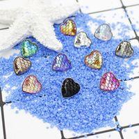Moda Em Aço Inoxidável Coração Amor Druzy Drusy Resina Sereia Padrão de Escala de Peixe Mulheres Coração Cabochão Brincos Do Parafuso Prisioneiro
