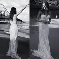 Julie Vino Vestido de novia de la envoltura de primavera Fiesta de la playa de primavera Vintage Ilusión de encaje Blusa Novio Sin mangas Boho Vestidos de novia Tren