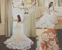 Off Shoulder Mermaid Wedding Dresses 2015 Half Sleeves Lace Vintage Bridal Gowns Appliqued Beading Plus Size Wedding Dresses 78i0 beachGown