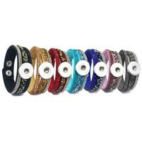 Rock style 7 colori 226 coreano velluto strass moda retrò braccialetto di collegamento pulsante a scatto gioielli per le donne uomini misura 18mm pulsante