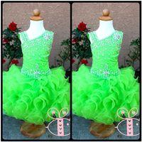 Modern Yeşil Pageant Glitz Cupcake Pageant Elbise Dantelli Boncuklu Organze Sevimli Toddler Pageant Balo Elbiseler