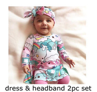 Unicorn Baby Girl INS dress With Headband Long Sleeve Full R...