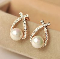 1pair lot, Fashion gold crystal stud earrings, brincos perle p...