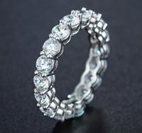 Marka desgin Toptan Köpüklü Moda Takı 925 Gümüş Yuvarlak Kesim Beyaz Topaz CZ Diamond Kadınlar Wedding Band Yüzük ölçüsü 5-11