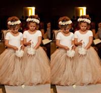 2019 Linda Princesa Vestido A-Line Crew Manga Curta Andar de Comprimento Champanhe Saia Puffy Linda Tulle flor menina vestidos vestidos