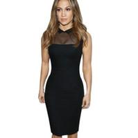 LCW 새로운 디자인 여자 연예인 메쉬 체포 파티 칵테일 클럽 Clubwear 칼집 연필 Bodycon 검은 드레스를 통해 참조 우아한 섹시