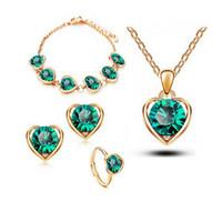 18k позолоченный Австрия Кристалл сердце ожерелье серьги браслеты кольца наборы мода сплав ювелирные изделия изысканные ювелирные наборы 1131