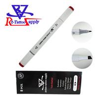 8 teile / los Rote Farbe Doppelkopf Tattoo Haut Marker Sterile Chirurgische Kosmetische Positionierung Stift Chirurgische Haut Marker Für Augenbraue