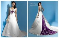 Ultimi abiti da sposa linea A di design Abiti da sposa lunghi principessa W1428 Fascia da collo a fiori primavera bianco e viola In Raso Perline Best