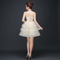 Promotion Champagne Strapless short Bridesmaid Dress singer ...