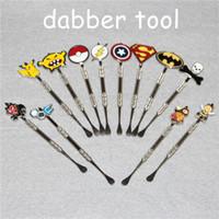 Venta superior 120 mm de cera tallado herramienta de dab herramientas de acero inoxidable cera dabber con dibujos animados diseño fumar metal herramientas dab