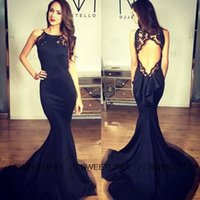 2020 Backless Spitze-Nixe-Abend-Kleid-reizvolle schwarzer Rundhalsausschnitt Abendkleid Michael Costello Formal Promi-Party-Kleid