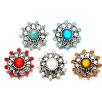 Nuevo fondo de cobre + cristal colorido NOOSA corchetes accesorios de la joyería 18mm botón a presión cuádruple para DIY pulseras anillos colgantes