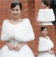 Ucuz Gelin Sarar Sahte Faux Fur Hollywood Glamour 2019 Düğün Ceketler Sokak Stili Moda örtbas Pelerin Ceket Shrug Şal Bolero Çaldı