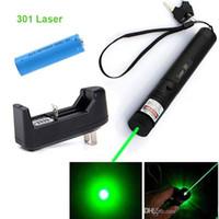 DHL 301 Stylo Pointeur Laser Vert 532nm 5mw Focus Focus Batterie + Chargeur US Adaptateur Set Livraison Gratuite