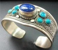 Meraviglioso d'argento del Tibet intarsio Lapis Bracciale Turchese Lazuli