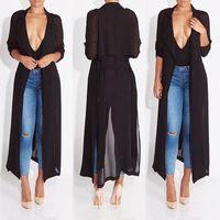 Wholesale- 2016 neue Art und Weise volle Hülse Trenchcoat balck Chiffon duster für Frauen Frau Mantel outwear kausalen Kleid langen Kleid sexy
