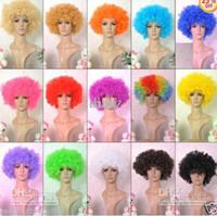 Halloween disco encaracolado peruca Rainbow Afro perucas Palhaço Criança Adulto Traje Fã de Futebol Peruca Fã de Cabelo Divertido