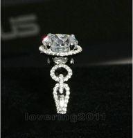 Brand New Prong réglage rond Cut 8mm 2CT blanc Topaz Diamonique 10KT blanc or rempli Simultaed diamant femmes bague de mariage cadeau Sz 5-11