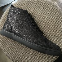 New 2018 Mens Womens Crystal Black Glitter Leather High Top ...
