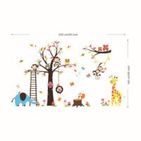 Extra Large Animal Family Tree Decal Art Decal Decoración de la habitación de los niños Sala de estar Decoración infantil Arte de dibujos animados Elefante Búho león Mural Decoración de la pared