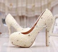 Zapatos de boda para mujer Primavera nupcial Tacones altos solos Marfil Perla Rhinestone Fiesta Zapatos de baile Bombas de mujer de alta calidad Madre de novia