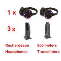 Jeu de direction silencieux disco silencieux avec émetteur (1 casque disco silencieux + 3 émetteurs)