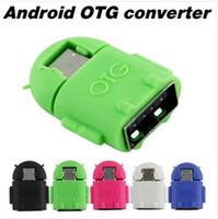 Mikro Mini USB OTG Adaptör Kablosu Samsung Galaxy S3 S4 HTC Tablet PC MP3 MP4 Akıllı Telefon Çok Renkli Android Robot Şekli