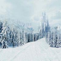 Kış Scenic Fotoğrafçılık Arka planında Kar Çam Ağaçları Dağ Vintage Kale Çocuk Çocuk Düğün Fotoğraf Portre Arkaplan Vinil Kaplı