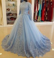 Charming Blue Muslim Lace Ball Gown Wedding Dresses With Lon...