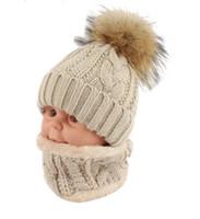 الأطفال أطفال الشتاء قبعة وشاح مجموعة الراكون الفراء الكرة قبعة بوم بوم بينيس الطفلات الدافئة الصوف كاب وشاح مجموعة