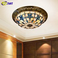FUMAT 12 14 16 Inch Round Lilac Ceiling Lamp Shell Ceiling Light Bedroom Corridor Light Mediterranean Art Shell Ceiling Lamps