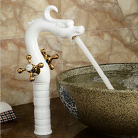 White Painted Dragon Faucets crane Bathroom Basin Brass Fauc...