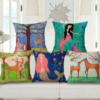 Elegant Linen Cotton Handmade Square Mermaid Cushion Covers Watercolor Deer Flower  Tree Throw Pillows Cases Starfish Coral Decorative Pillows Covers Bedroom  Sofa ...