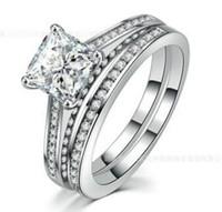 2CT Princess-Cut Lad Diamond Solitaire Bridal Set Engagement Ring 10K vitguldfyllning