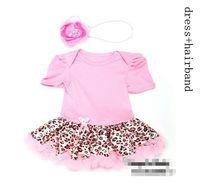 Novo verão bebê menina recém-nascido princesa tutu vestido, vestido de leopardo rosa roupas de crianças, 3 pcs vestido + 3 pcs hairband, 6 pcs / lote